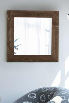 bluecape Doğal Ağaç Masif 58x58 Cm Kare Gri Salon Ofis Mutfak Çocuk Odası Duvar Konsol Boy Aynası