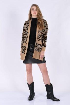 Moda cevriye Kadın Siyah Leopar Desen Triko Ceket