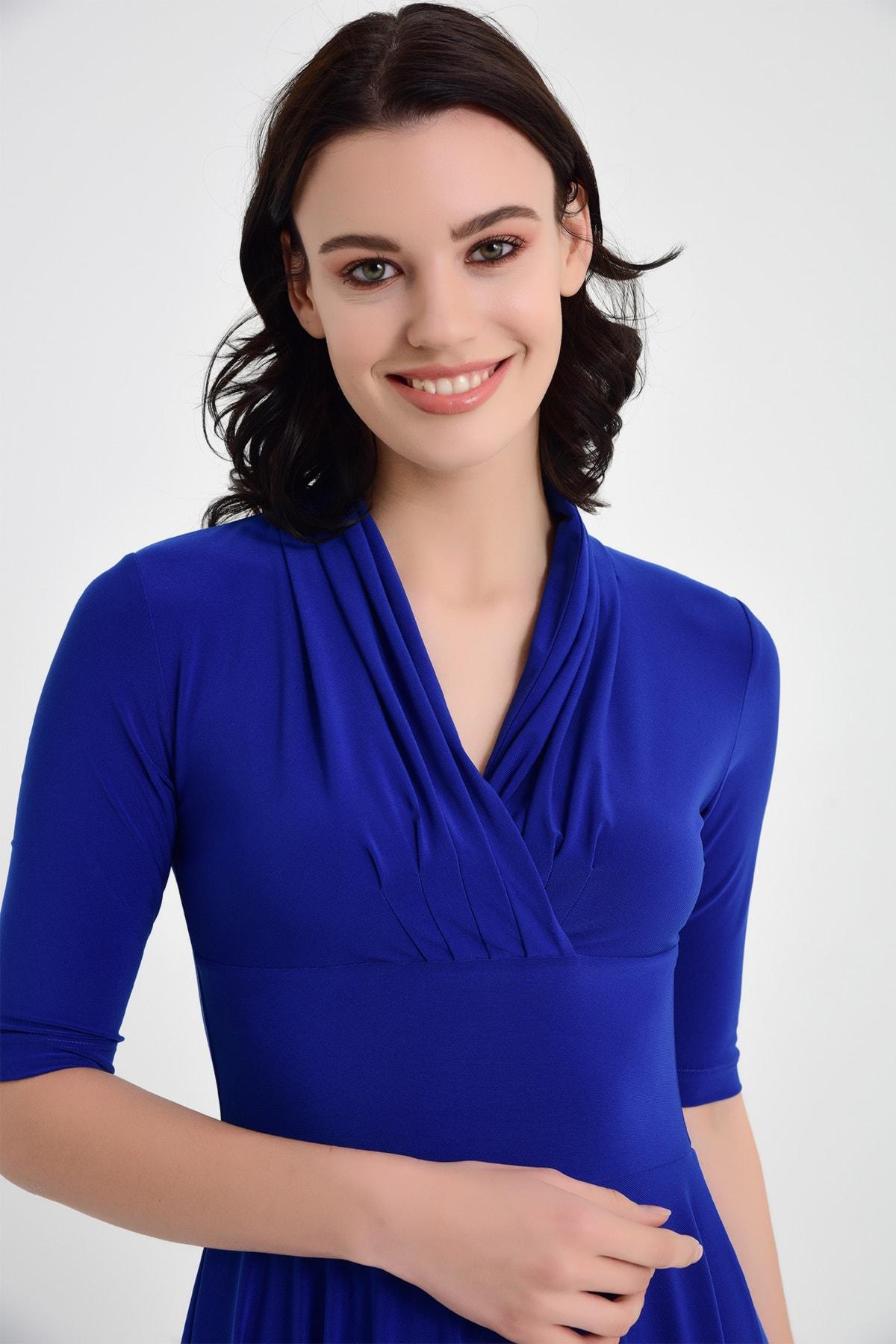 Laranor Kadın Sax Mavi Yaka Detay Hareketli Etek Elbise 2