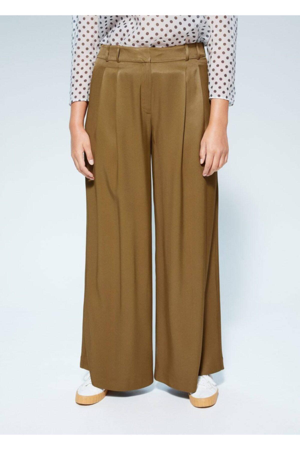 Violeta by MANGO Kadın Zeytin Yeşili Pili Detaylı Pantolon 67057885 2