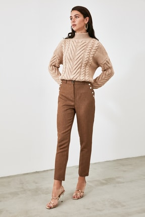 TRENDYOLMİLLA Vizon Cep Detaylı Pantolon TWOAW21PL0870