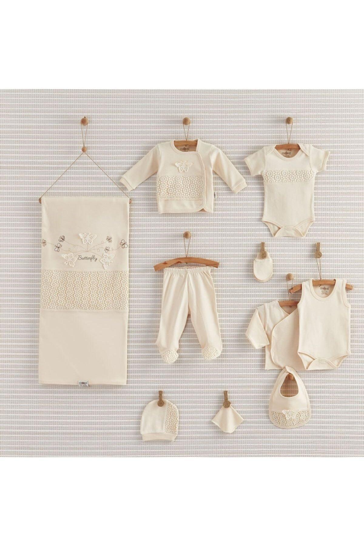 Bebbek Kız Bebek Ekru Butterfly Organik 10'lu Hastane Çıkışı 19-052 1