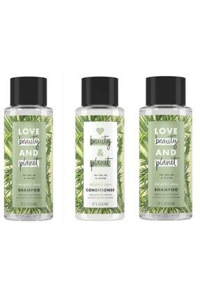 Love Beauty and Planet Çay Ağacı Vetiver Şampuan 400 ml 2 Adet + Saç Kremi 400 ml 1 Adet
