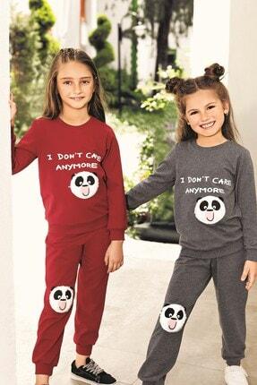 Lohusa Sepeti Kız Çocuk Gri Panda Pijama Takımı