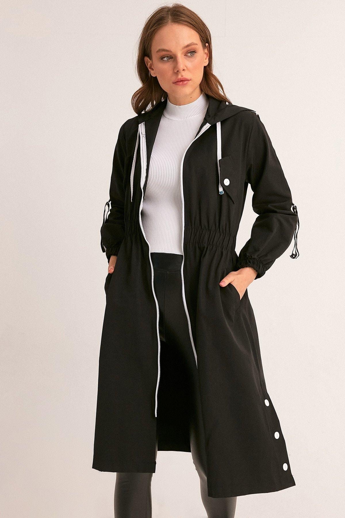 Fulla Moda Kadın Siyah Beli Lastikli Kapüşonlu Trençkot 1
