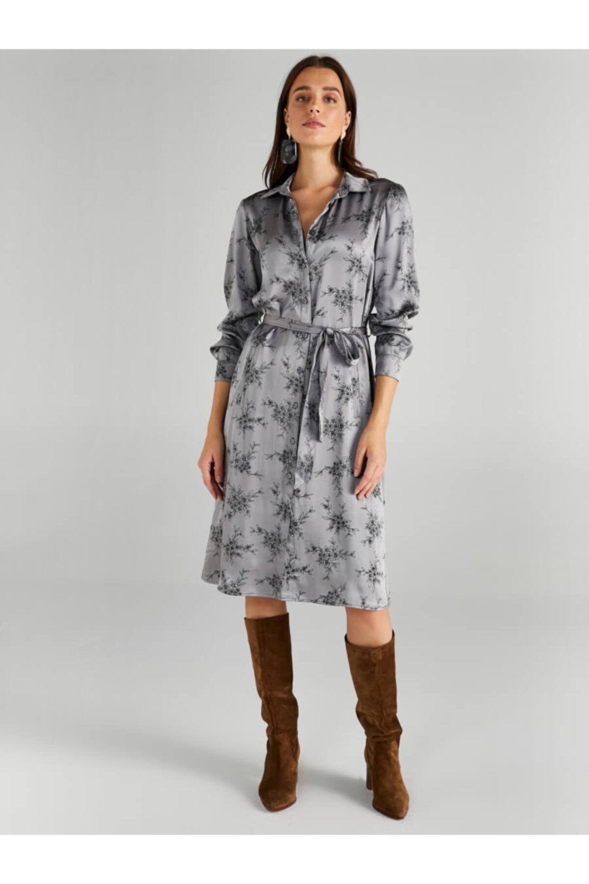 Faik Sönmez Kadın Gri Çiçek Desenli Saten Gömlek Elbise 61235 1
