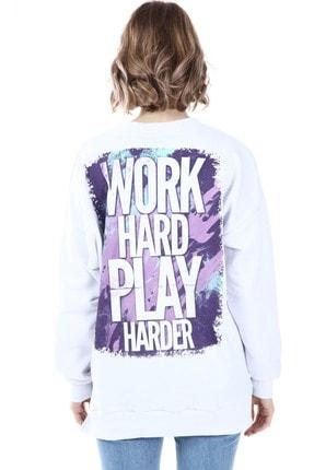 Millionaire Kadın Beyaz Yırtmaçlı  Baskılı Oversize Sweatshirt