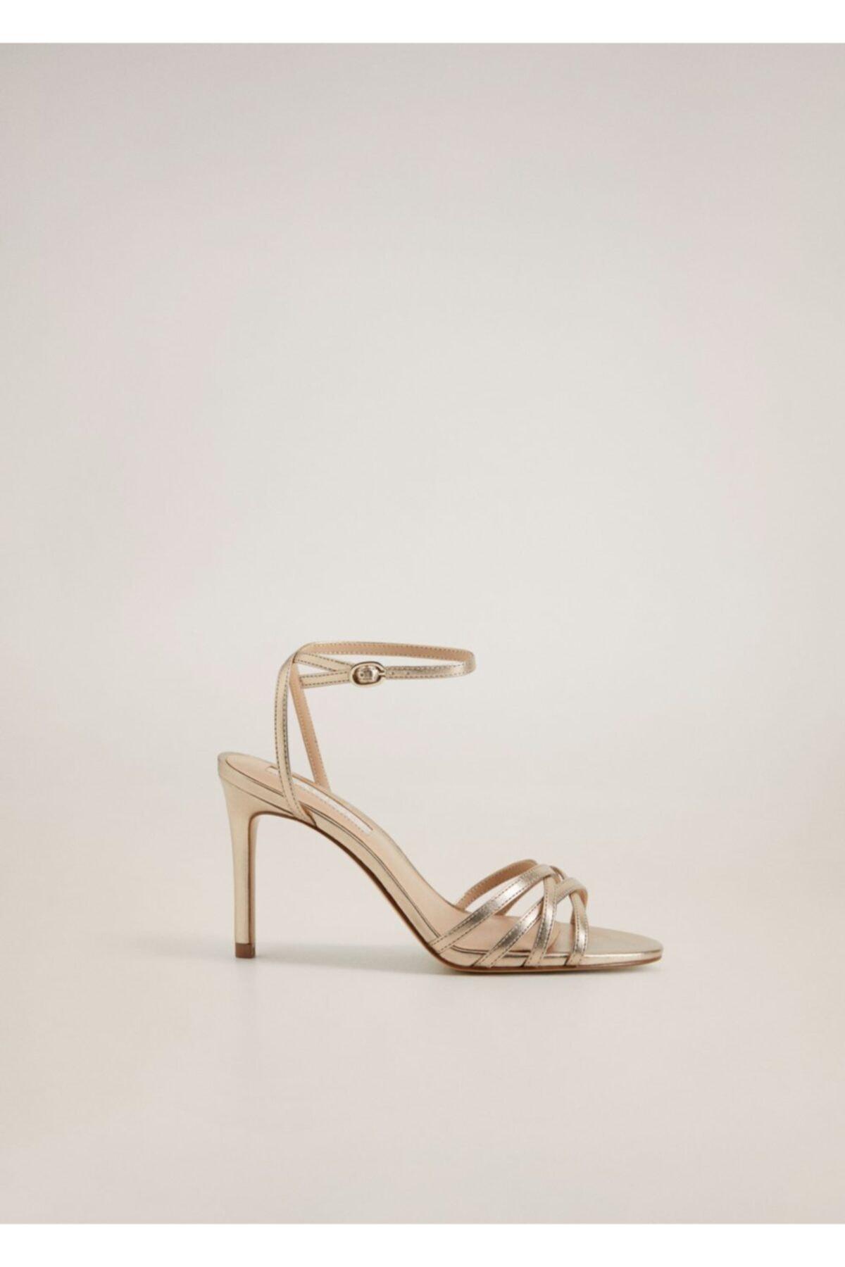MANGO Woman Kadın Altın Sarısı Metalik Bantlı Sandalet 77040038 1