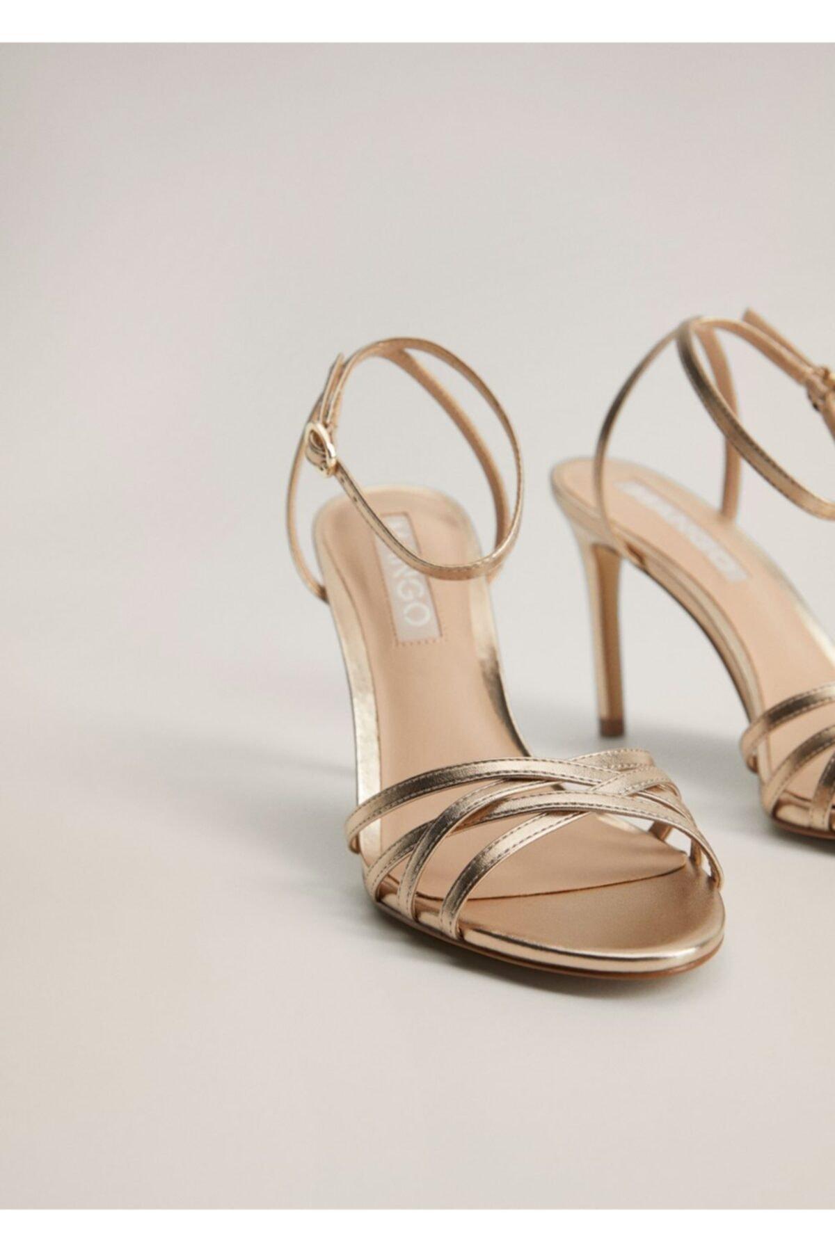 MANGO Woman Kadın Altın Sarısı Metalik Bantlı Sandalet 77040038 2