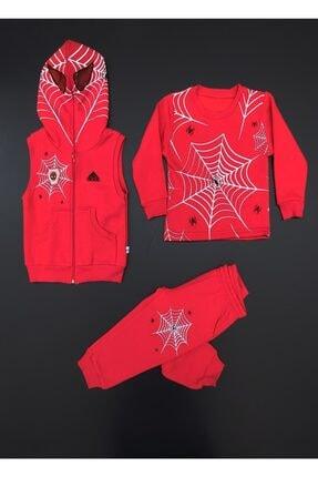 CİCAS Erkek Çocuk Kırmızı Örümcek Adam 3 İp Kışlık Işıklı 3'lü Eşofman Takım