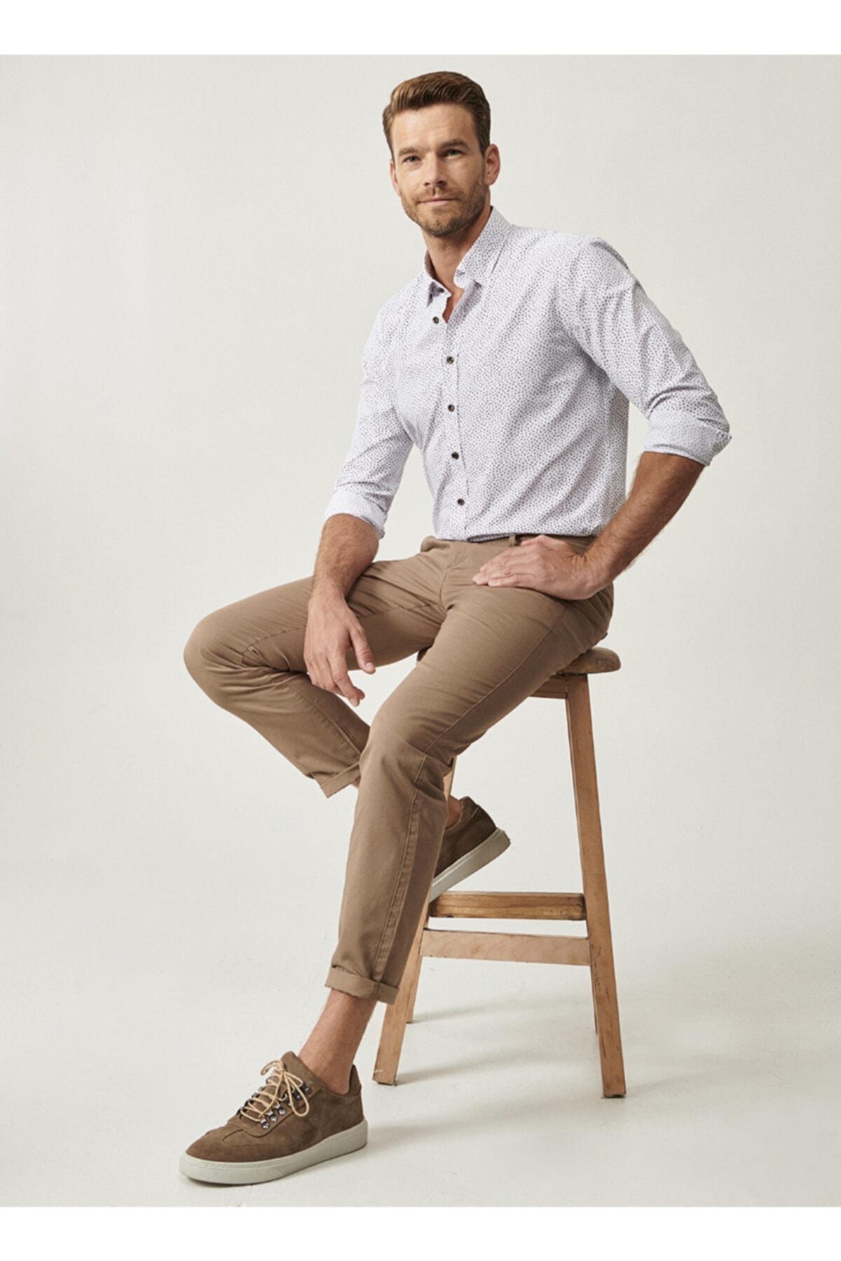 ALTINYILDIZ CLASSICS Erkek Bej Kanvas Slim Fit Chino Pantolon 1