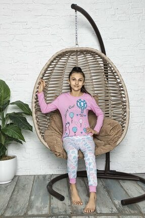 RİNDA Kız Çocuk Pembe Penye Pijama Takımı