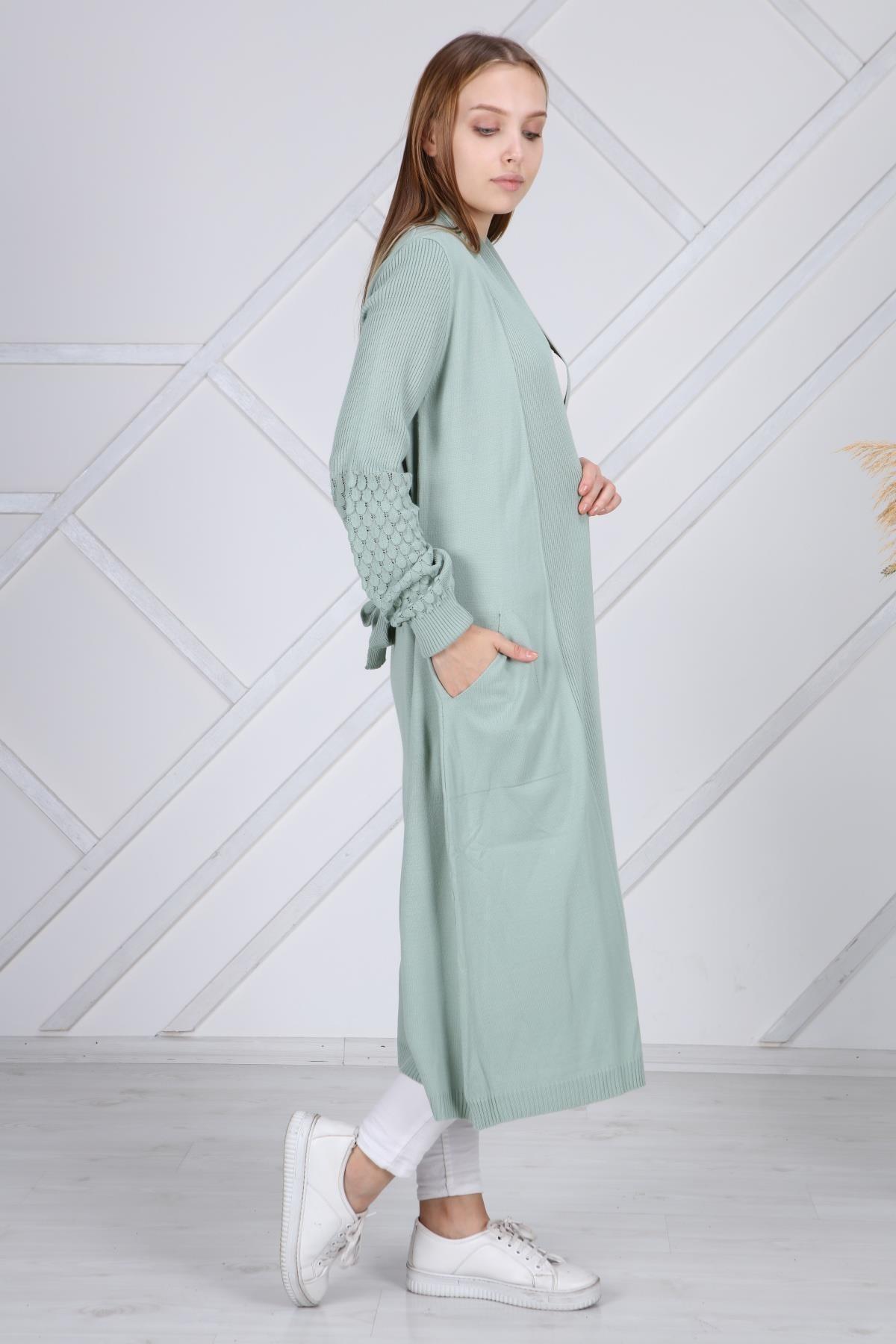 şeymaebrar Kadın Mint Yeşili Kol Detaylı Triko Uzun Hırka 1