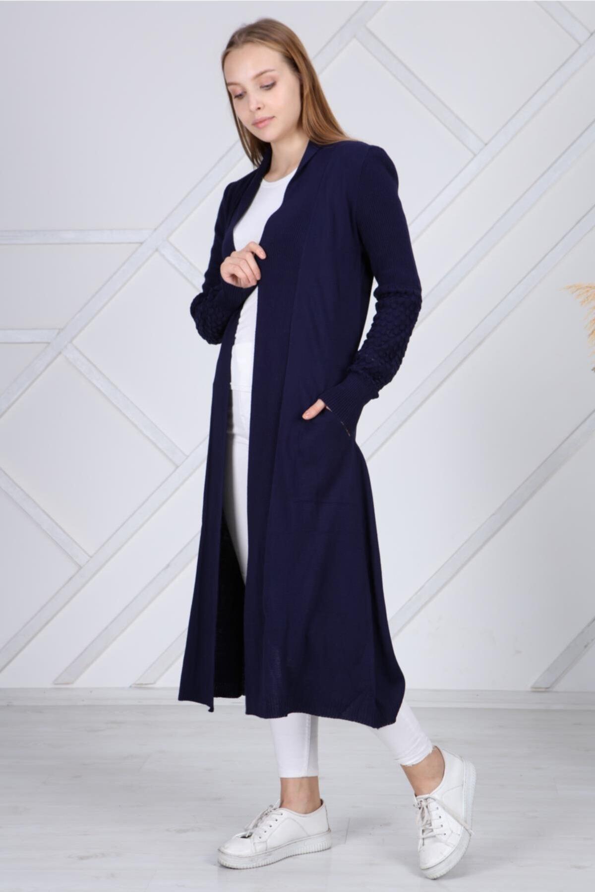 şeymaebrar Kadın Lacivert Kol Detaylı Triko Uzun Hırka 1