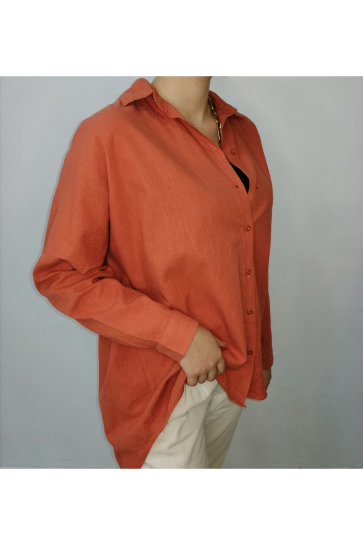 biyankı Kadın Turuncu Keten Gömlek 2