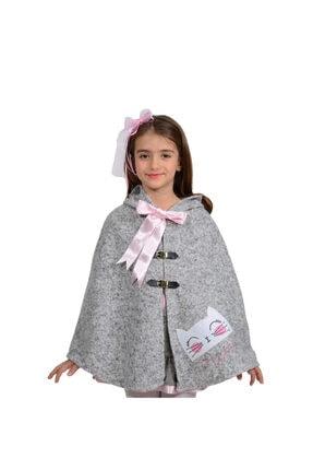 İpeqa Kız Çocuk Pembe Kışlık Kedili Pamuklu Panço