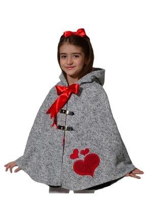 İpeqa Kız Çocuk Kırmızı Kışlık Kedili Pamuklu Panço