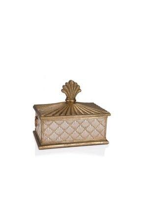 Porio Altın Krem Kapaklı Kutu 27x17x23