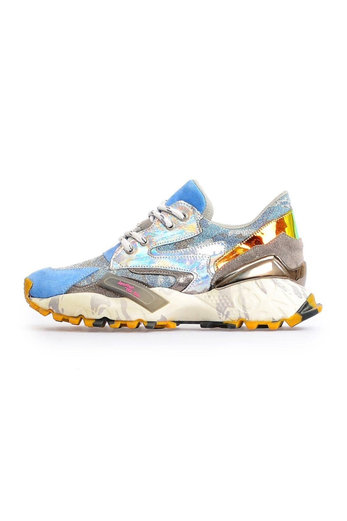 Flower Kadın Mavi Taban Detaylı Spor Ayakkabı 1