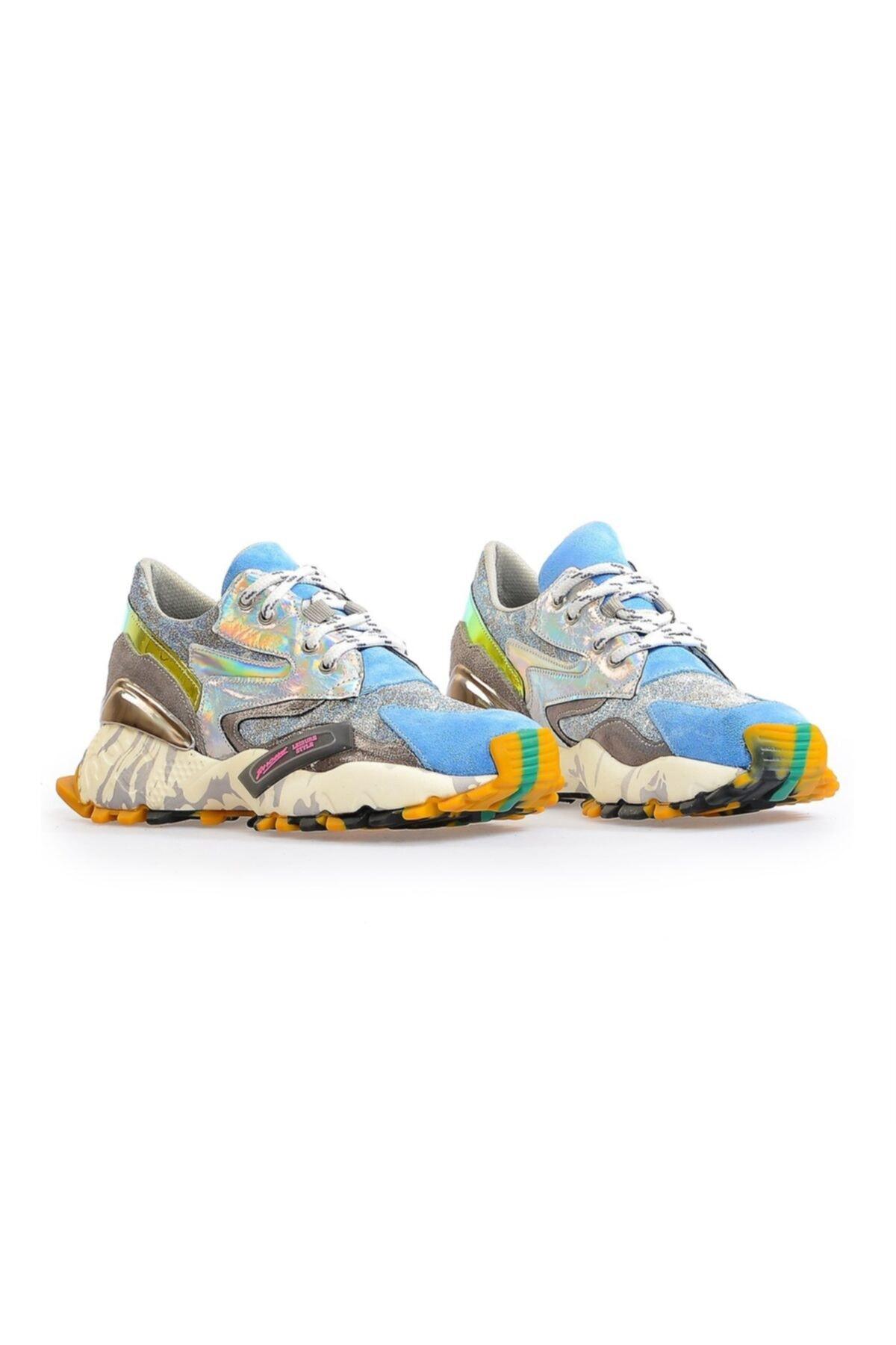 Flower Kadın Mavi Taban Detaylı Spor Ayakkabı 2
