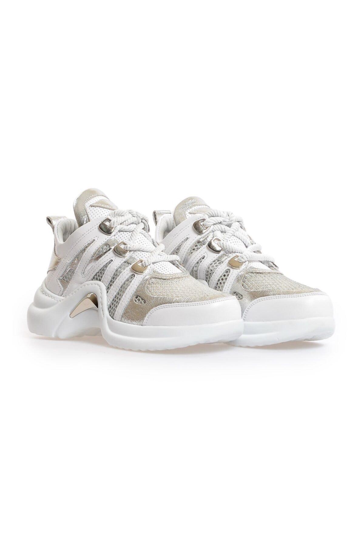 Flower Kadın Beyaz Kombin File Detaylı Sneaker 2