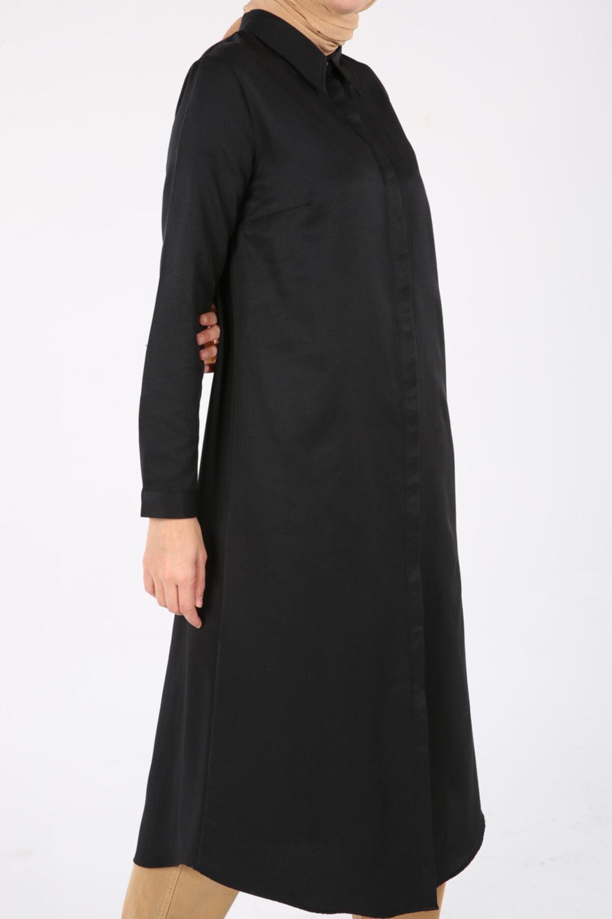 ALLDAY Kadın Siyah Pamuklu Uzun Gömlek 2