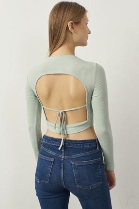 Bipantolon Kadın Yeşil Sırt Dekolteli Uzun Kol Crop Bluz