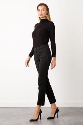 Ekol Kadın Siyah Çizgi Cep Pantolon