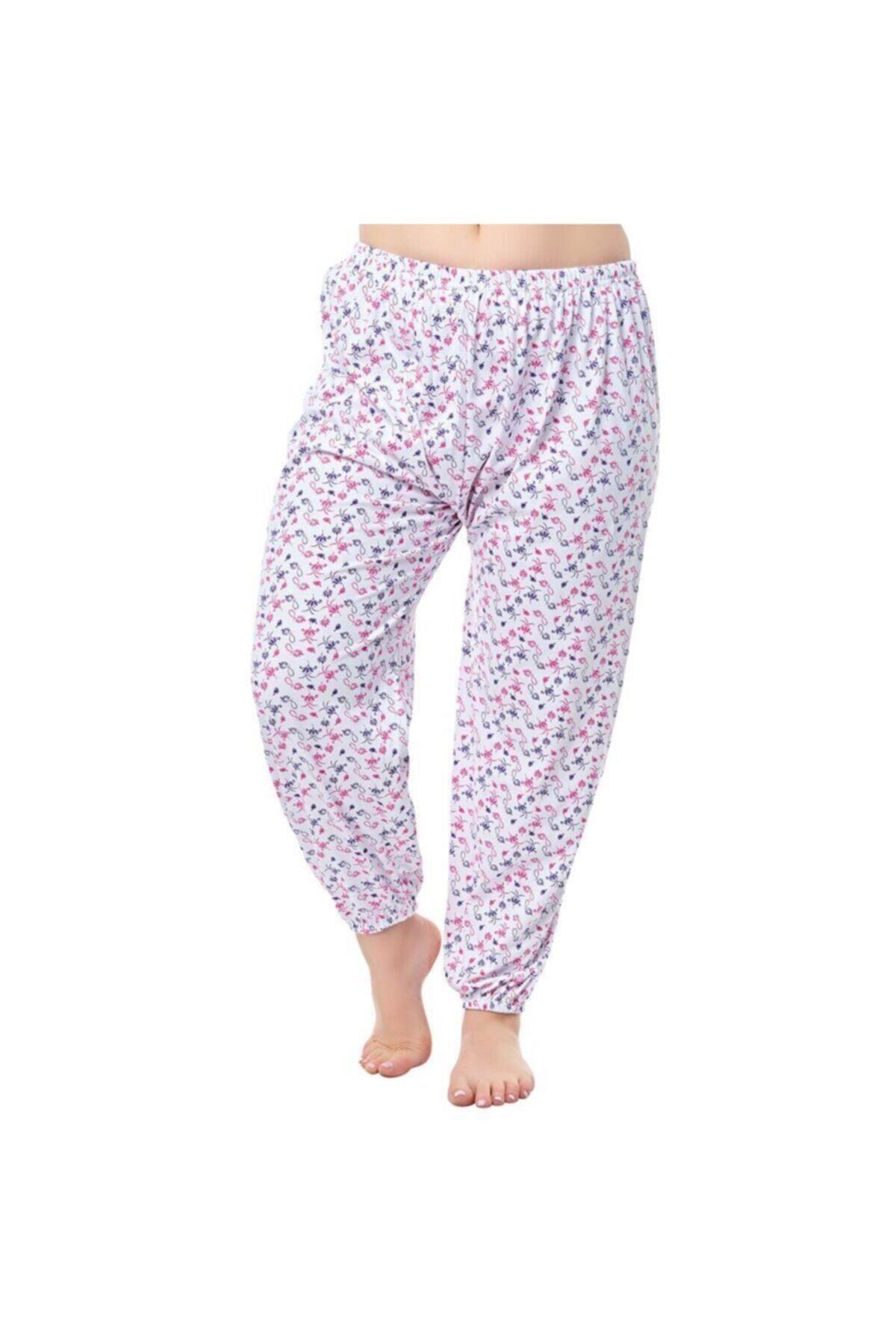 Ören Yıldız Çamaşırları Kadın 2'li Kışlık Beyaz Desenli Lastikli Uzun Pijama Altı 1