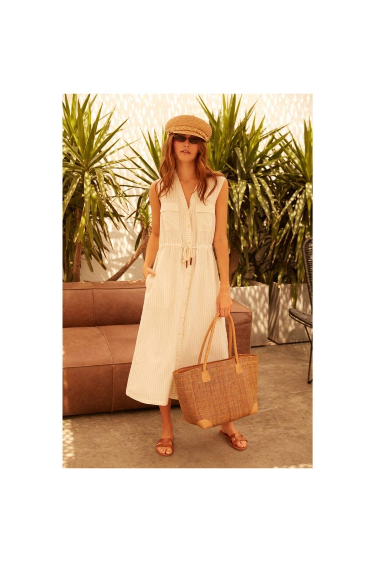 Mudo Kadın Multi Renk Viskoz/Keten Midi Elbise 1