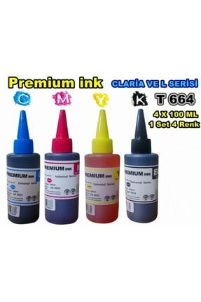 EPSON Premium Ink T664 L3050 L3060 L3070 4 Renk X 100 Ml Set