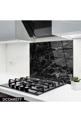 Olinpa Cam Ocak Arkası Koruyucu | Siyah Mermer Desenli 60x52 Cm