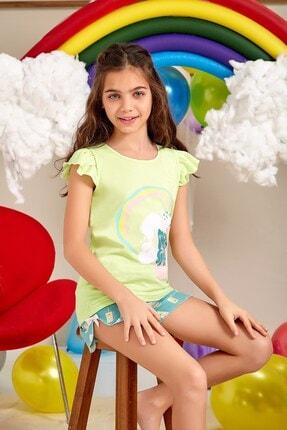 Lohusa Sepeti Kız Çocuk Milk Shake Fıstık Yeşili Şort Takımı - 0071 Yaş 9-14