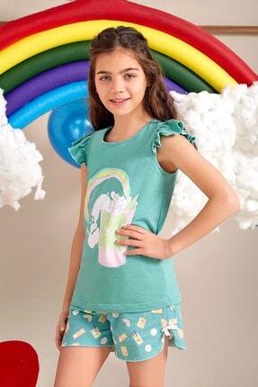 Lohusa Sepeti Kız Çocuk Milk Shake Yosun Yeşili Şort Takımı - 0071 Yaş 9-14