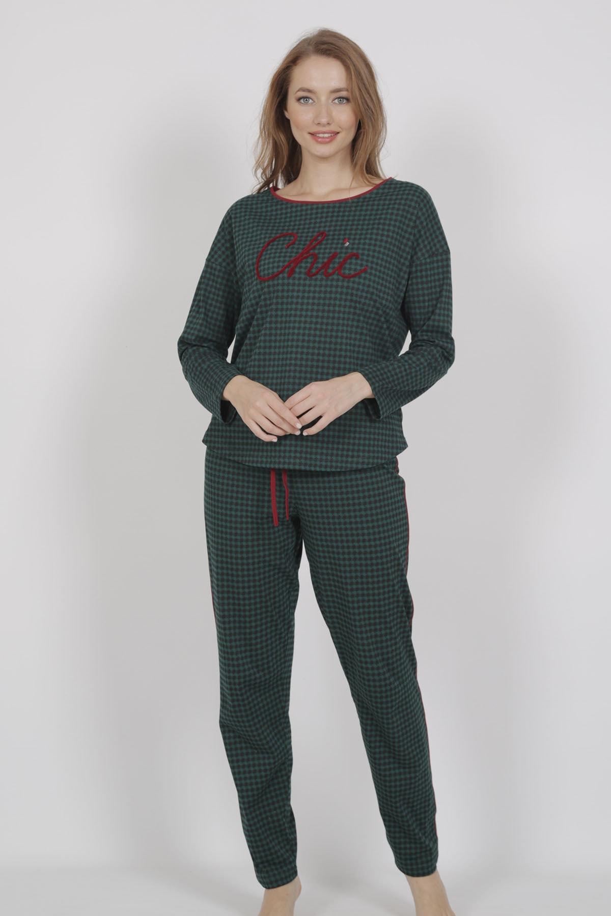 VİENETTA Kadın Uzun Kol Normal Beden Yazılı Desen Yesil Pijama Takım 1