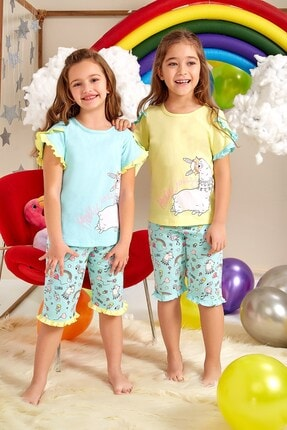 Lohusa Sepeti Kız Çocuk Gökkuşağı Kapri Pijama Takımı - 0062 Yaş 3-9