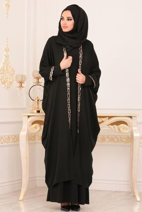 Nayla Collectıon Nayla Collection - Pul Payetli Siyah Tesettür Abaya 8875s