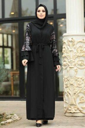 Neva Style - Kolları Detaylı Siyah Tesettür Abaya 9637s