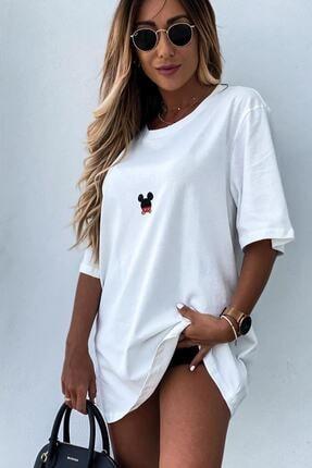 Unique Kadın Beyaz Mickey Mouse Baskılı Oversize Tshirt