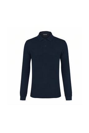 Pierre Cardin Erkek Lacivert Slim Fit Polo Yaka Sweatshirt