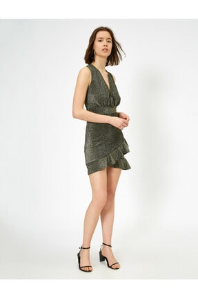 Koton Kadın Firfirli Elbise Abiye Anvelop Derin V Yaka Kolsuz Mini