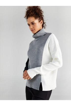Faik Sönmez Kadın Balıkçı Yaka Kontrast Renkli Triko Bluz 61759
