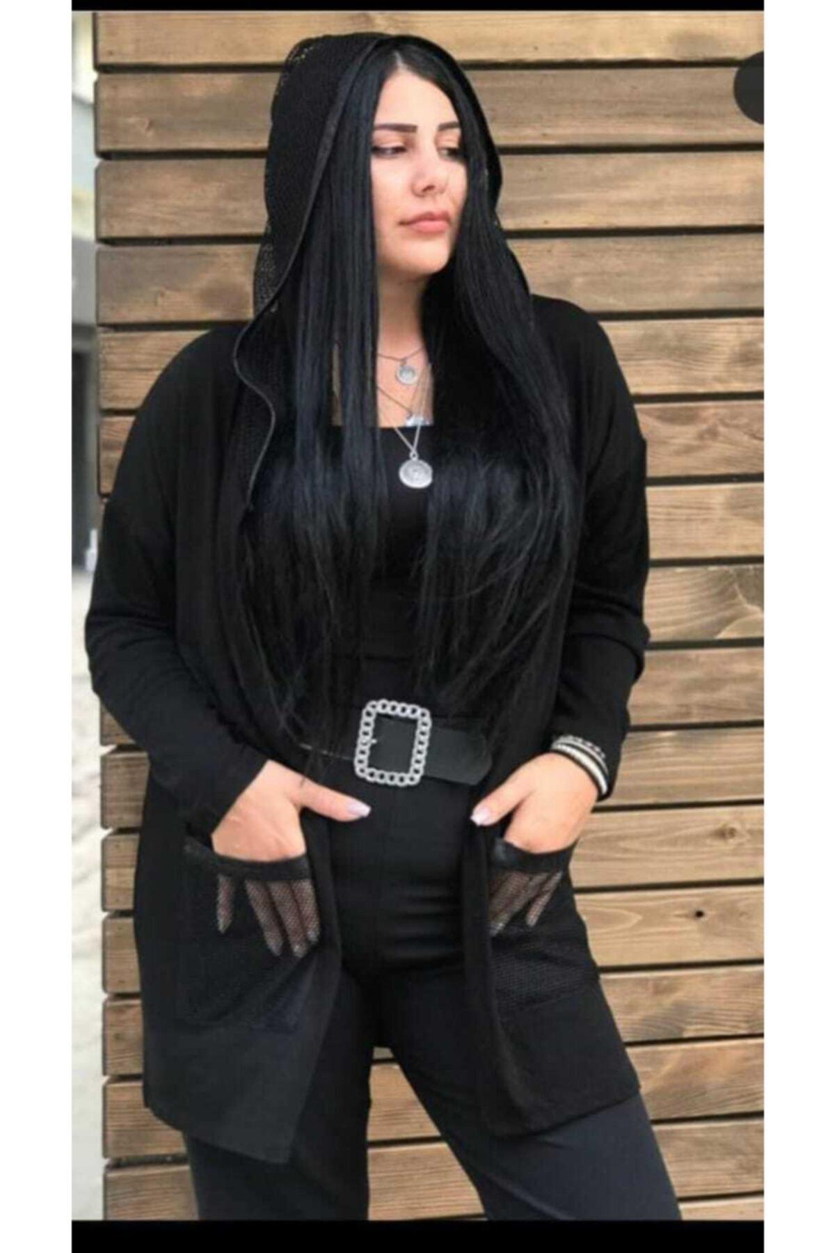 TREND Kadın Siyah  Fileli Ceket 1