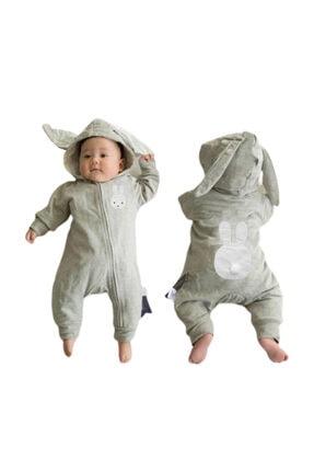 bebegen Unisex Bebek Gri Tavşan Kulaklı Ponponlu Bebek Tulum