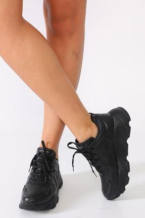 Sidasa Kadın Siyah Renk Sim Detaylı Sneaker Ayakkabı
