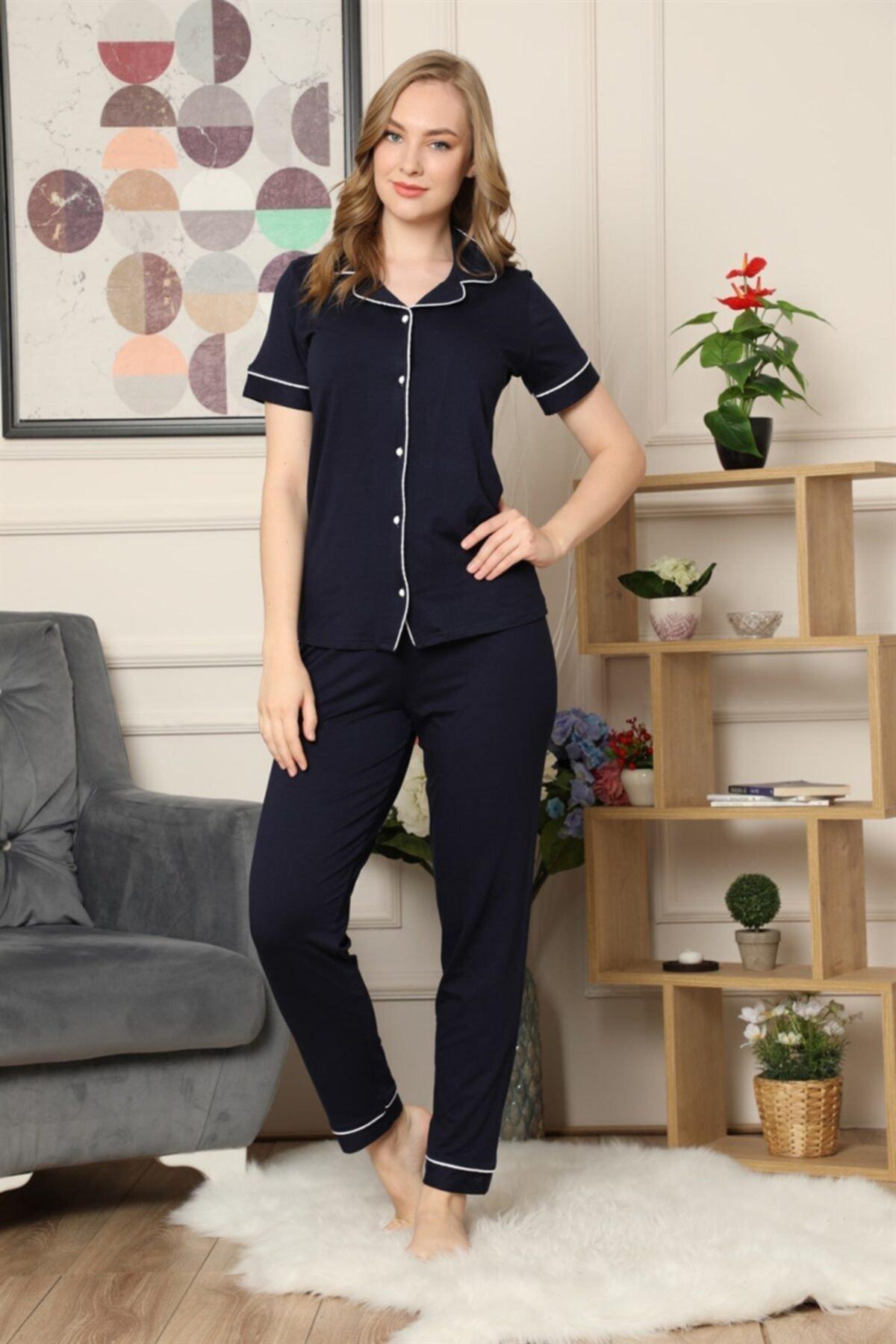ARCAN Kadın Lacivert Kısa Kollu Önden Düğmeli Biye Detaylı Pijama Takımı 1