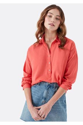 Mavi Kadın Uzun Kollu Dokulu Kırmızı Bluz