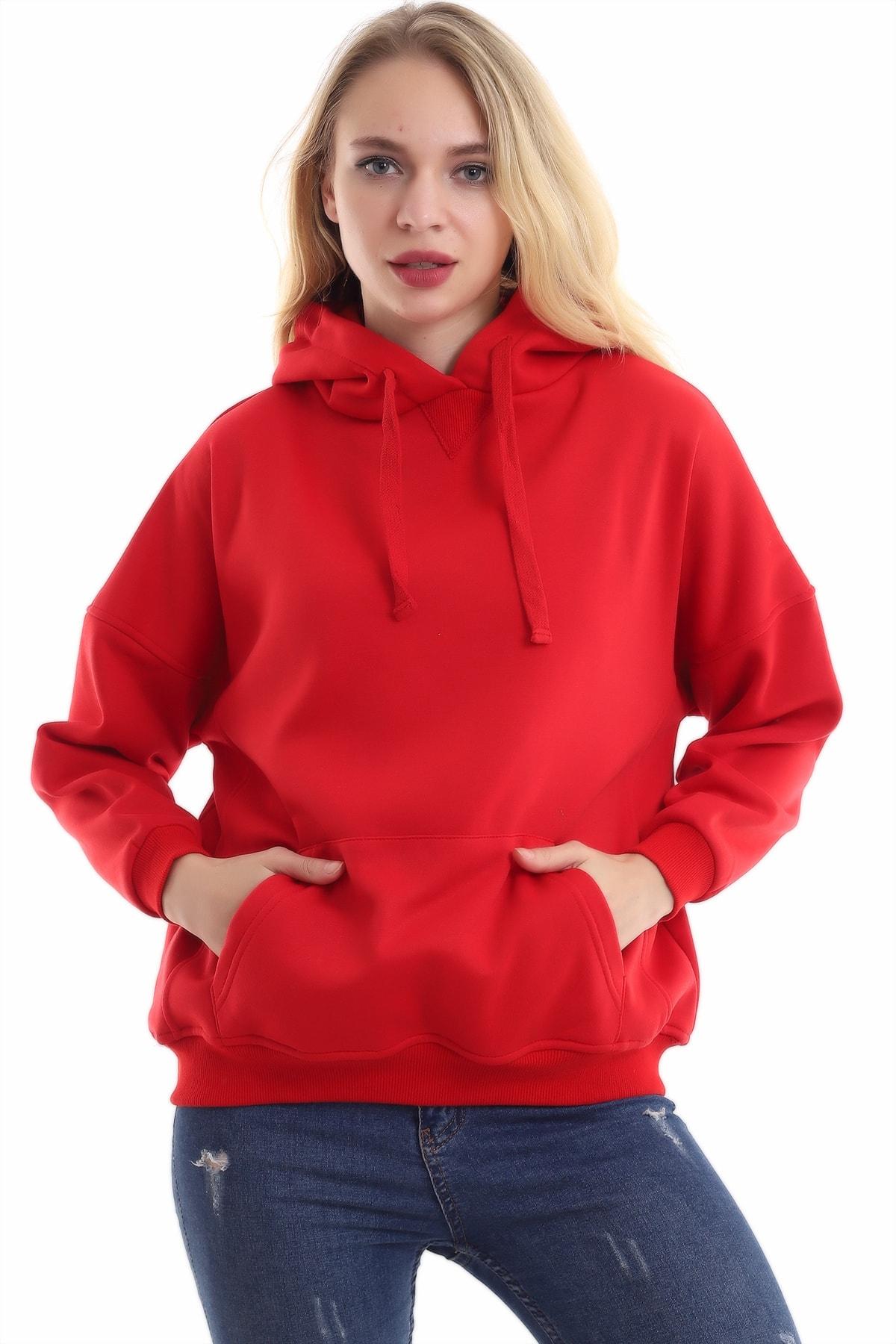 boffin Kadın Kırmızı İçi Pamuklu Oversize Sweatshirt 1