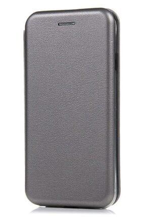 MobilCadde Huawei Y7 2018 Curve Manyetik Kapaklı Silver Deri Kılıf