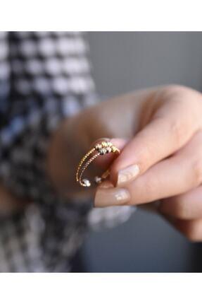 Elika Silver Kadın Dorika Toplu Rose-gold 925 Ayar Gümüş Yüzük